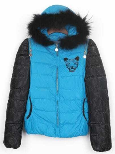 Blue Tiger Back Zip Shoulder Black Sleeve Hooded Padded Jacket