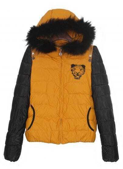 Yellow Tiger Back Zip Shoulder Black Sleeve Hooded Padded Jacket