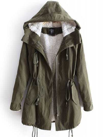 Green Hooded Long Sleeve Drawstring Pockets Fleece Coat