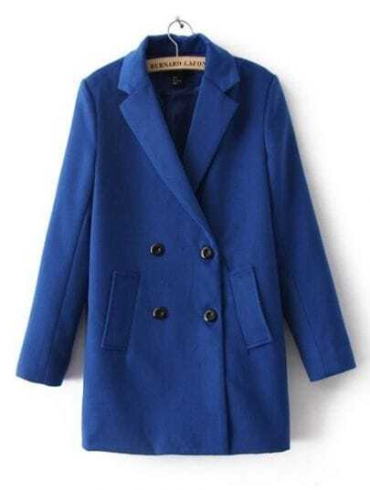 Blue Notch Lapel Long Sleeve Buttons Pockets Coat