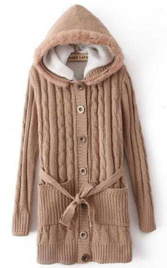 Khaki Hooded Long Sleeve Drawstring Pockets Cardigan Sweater