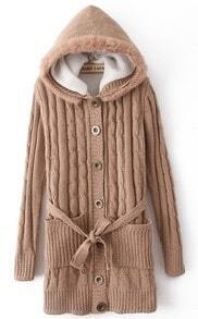 Khaki Hooded Long Sleeve Drawstring Pockets Cardigan Sweater