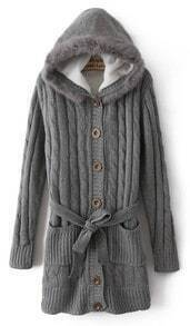 Grey Hooded Long Sleeve Drawstring Pockets Cardigan Sweater