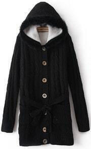 Black Hooded Long Sleeve Drawstring Pockets Cardigan Sweater