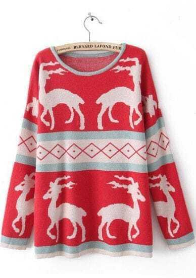 Red Long Sleeve Deer Print Pullovers Sweater