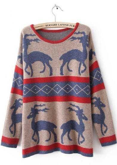 Khaki Long Sleeve Deer Print Pullovers Sweater