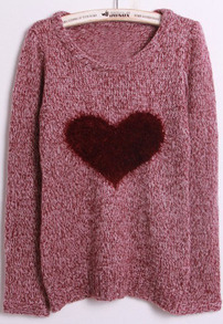 Red Long Sleeve Heart Plush Embellished Sweater