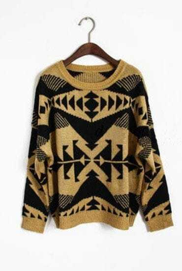 Yellow Long Sleeve Tribal Print Pullovers Sweater