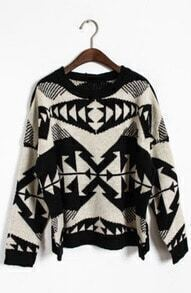 Apricot Long Sleeve Tribal Print Pullovers Sweater