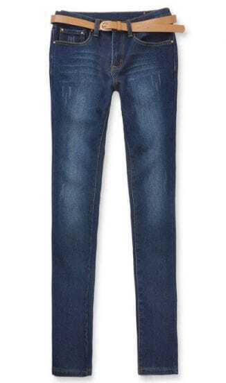 Dark Blue Low Waist Pockets Denim Pant