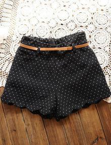 Black Elastic Waist Polka Dot Zigzag Shorts