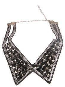 Silver Rivet Collar Chain Necklace