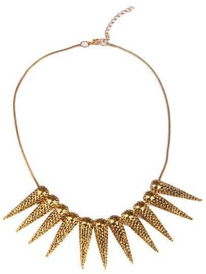 Gold Hollow Spike Necklace