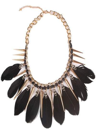 Black Feather Gold Spike Chain Necklace