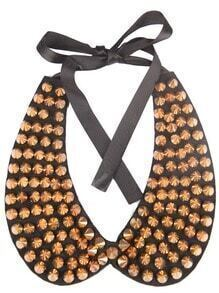 Gold Rivet Black Collar Ribbon Necklace