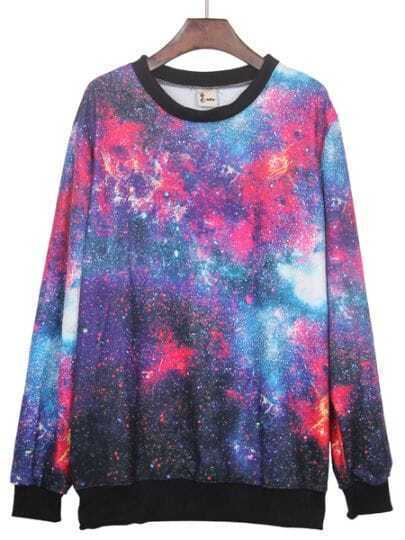 Red Round Neck Galaxy Print Ribbed Sweateshirt