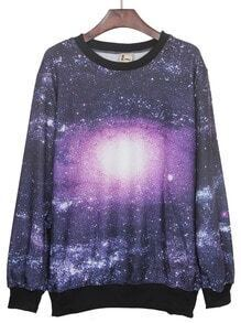 Black and Purple Round Neck Galaxy Print Ribbed Sweateshirt