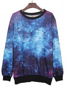 Blue Round Neck Galaxy Print Ribbed Sweateshirt