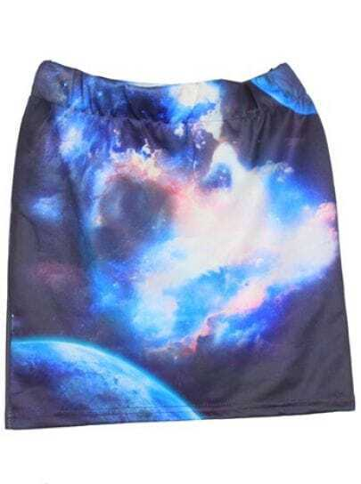 Blue Galaxy Print Skinny A Line Mini Skirt