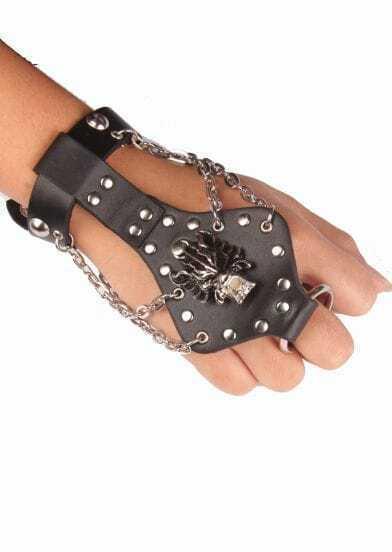 Silver Dragon Chain Black Leather Bracelet