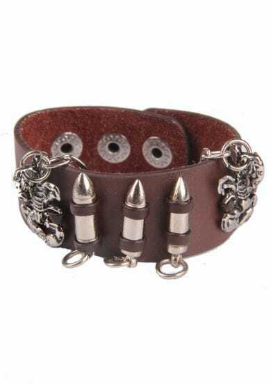 Silver Scorpion Bullet Brown Leather Bracelet