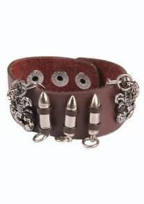 Silver Scorpion Bullet Brown Leather Bracelet