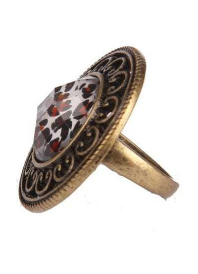 White Crystal Gold Hollow Ring