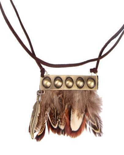 Gold Feather Tassel Black Necklace