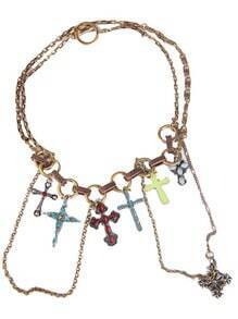 Multi Cross Gold Chain Necklace