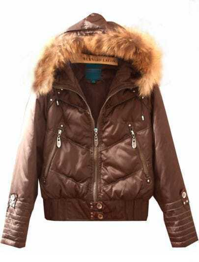 Brown Raccoon Fur Detachable Hooded Down Filled Jacket