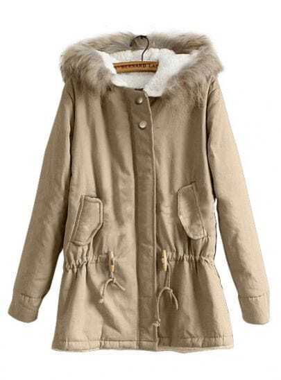 Khaki Fur Hooded Long Sleeve Drawstring Trench Coat