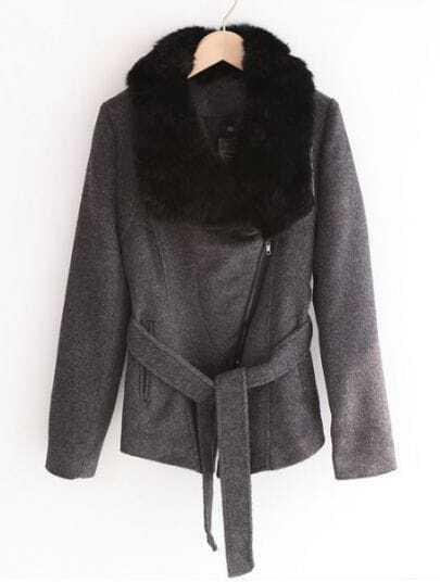 Dark Grey Fur Lapel Long Sleeve Drawstring Waist Coat