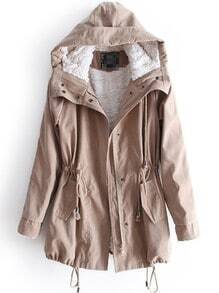 Khaki Hooded Long Sleeve Zipper Drawstring Coat
