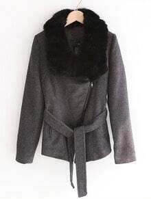 Dark Grey Fur Lapel Long Sleeve Drawstring Waist Coat