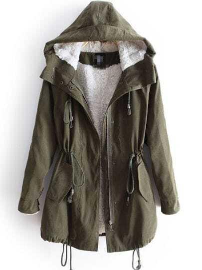 Green Hooded Long Sleeve Zipper Drawstring Coat