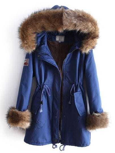 Blue Fur Hooded Long Sleeve Drawstring Pockets Coat