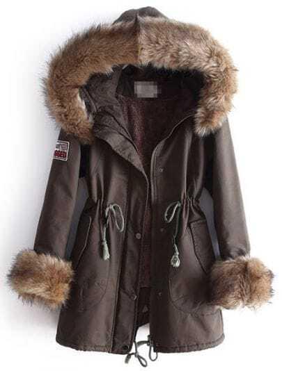 Army Green Fur Hooded Long Sleeve Drawstring Pockets Coat