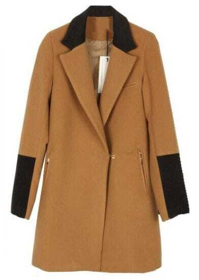 Brown Lapel Long Sleeve Zipper Pockets Coat