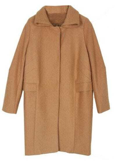 Camel Lapel Long Sleeve Single Breasted Pockets Coat