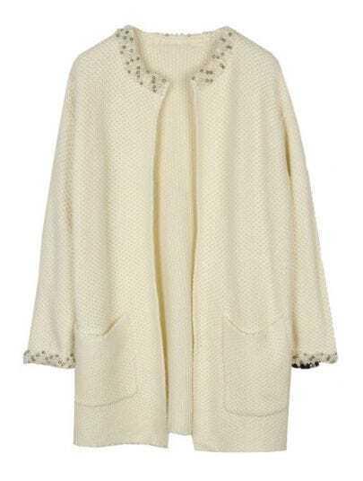 White Long Sleeve Beading Pockets Coat