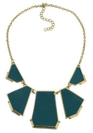 Turquoise Geometric Gold Chain Necklace