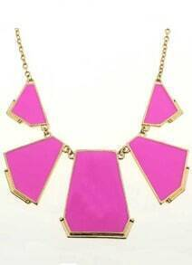 Pink Geometric Gold Chain Necklace