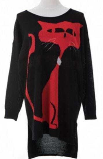 Black Long Sleeve Cat Print Loose Pullovers Sweater