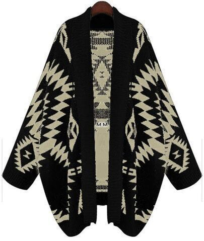 Black Batwing Long Sleeve Geometric Cardigan Sweater