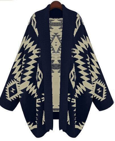 Navy Batwing Long Sleeve Geometric Cardigan Sweater