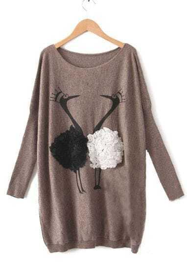 Coffee Long Sleeve Flowers Swan Batwing Sweater