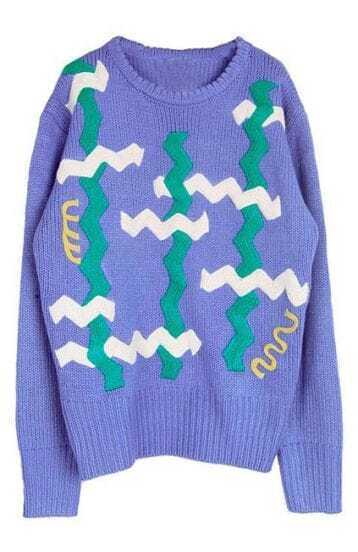 Purple Long Sleeve Zigzag Geometric Embellished Sweater