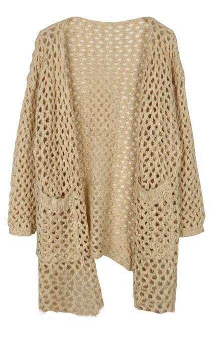 Beige Long Sleeve Hollow Pockets Cardigan Sweater -SheIn(Sheinside)