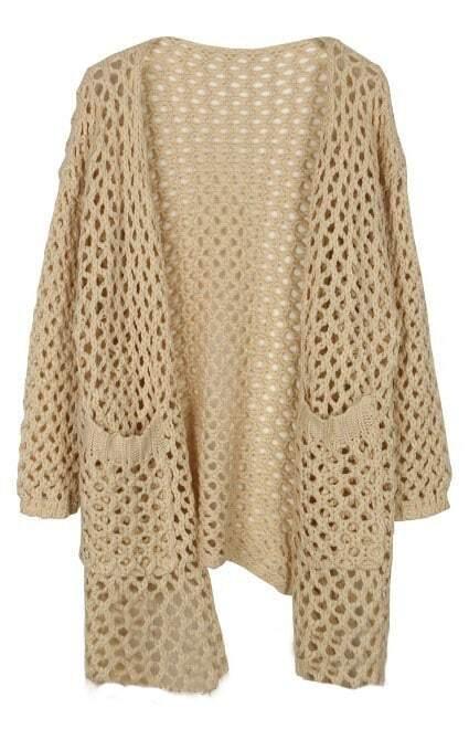 Beige Long Sleeve Hollow Pockets Cardigan Sweater -SheIn(Sheinside)
