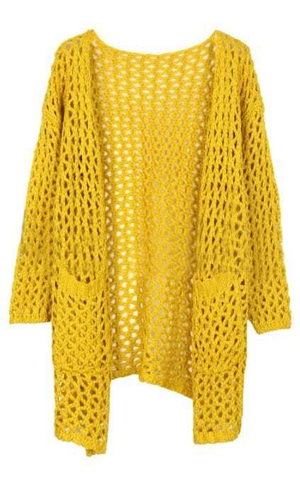 Yellow Long Sleeve Hollow Pockets Cardigan Sweater -SheIn(Sheinside)